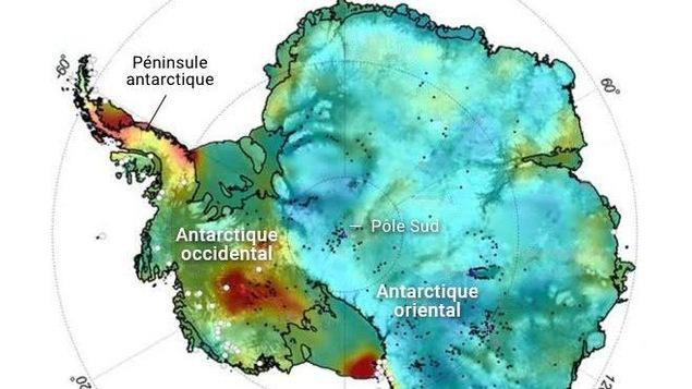 Une carte illustrant les flux de chaleur de la roche sous la calotte glaciaire de l'Antarctique