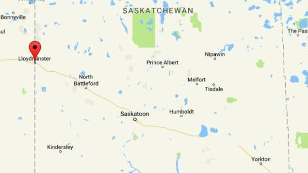 Une carte de la Saskatchewan qui montre Lloydminster.