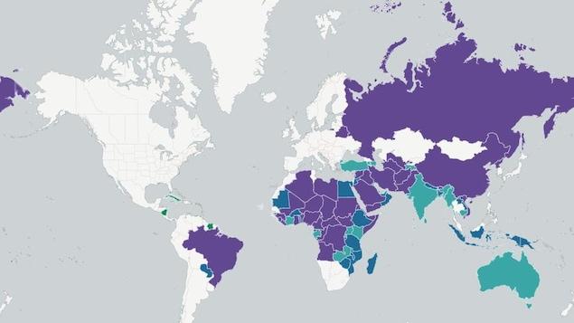 Carte des pays où les Canadiens doivent obtenir un visa pour les visiter.