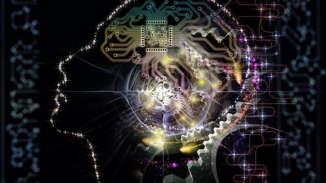 Illustration de la silhouette de visage humain et de symboles technologiques sur le thème de l'informatique et de l'intelligence artificielle.