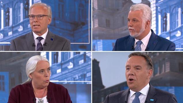Un montage photo montre les chefs qui débattent sur le plateau de TVA.