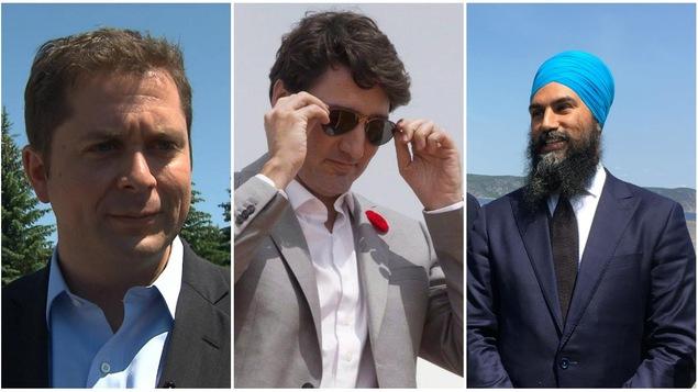Un montage de trois photographies montrant les trois chefs des partis fédéraux Andrew Sheer, Justin Trudeau et Jagmeet Singh.