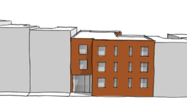 Une esquisse du projet d'hébergement pour femmes en difficulté qui verra bientôt le jour au centre-ville de Montréal.