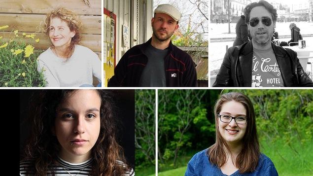Les cinq finalistes du Prix du récit Radio-Canada 2017 : Christine Gonthier, Joan Sénéchal, Mathieu Vincelette, Sarah Walou et Thérèse Yelle