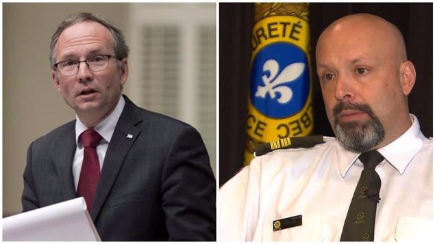 Martin Coiteux, ministre de la Sécurité publique, et Guy Lapointe, porte-parole de la Sûreté du Québec
