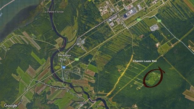 Carte satellite de l'endroit du terrain contaminé des anciennes usines Recyclage Aluminium Québec et Alsa Aluminium