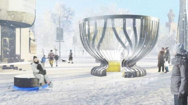 Une esquisse du futur monument de la Coupe Stanley.