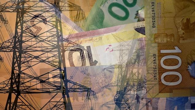 Un pylône d'électricité et des dollars canadiens.
