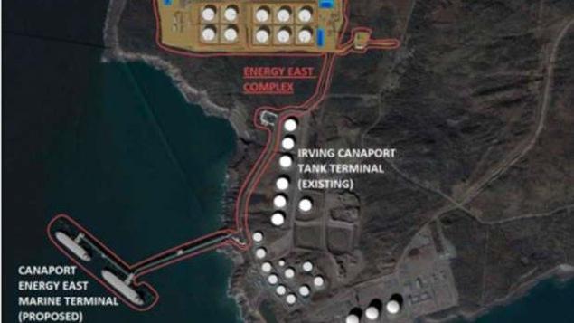 Le pipeline Énergie Est doit aboutir dans le port de Saint-Jean, au N.-B., où un terminal pétrolier doit être construit.