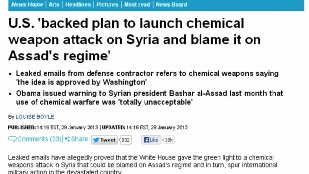 Capture d'écran d'un article publié en 2013 par le Daily Mail, où on affirme que le gouvernement américain avait aidé des rebelles syriens à planifier une attaque chimique.
