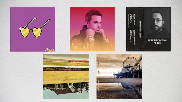 Montage de cinq pochettes d'albums