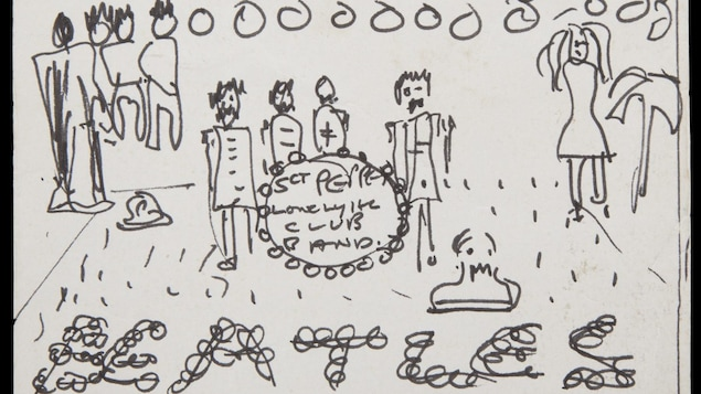 Le dessin en noir et blanc attribué à John Lennon représente la pochette de l'album «Sgt. Pepper's Lonely Hearts Club».