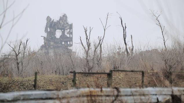 Des arbres brûlés devant un édifice presque tout détruit.