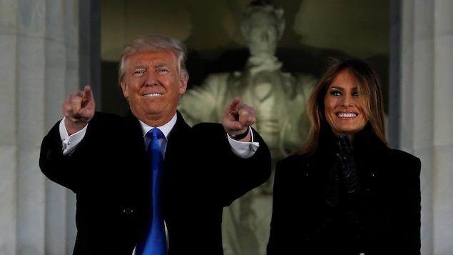 Donald Trump et sa femme, Melania, à Washington, à la veille de l'assermentation