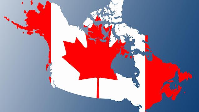 Une carte du Canada avec le drapea