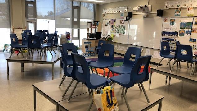 Des chaises sur des bureaux.