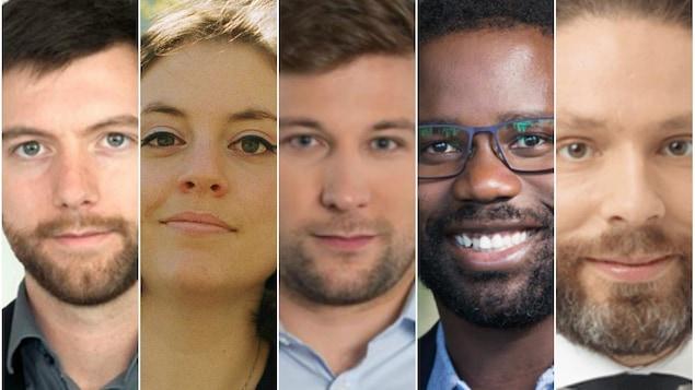 De gauche à droite : Alex Tyrrell (Parti vert du Québec), Vanessa Dion (Option nationale), Gabriel Nadeau-Dubois (Québec solidaire), Jonathan Marleau (Parti libéral du Québec) et Benjamin Bélair  (Coalition avenir Québec).