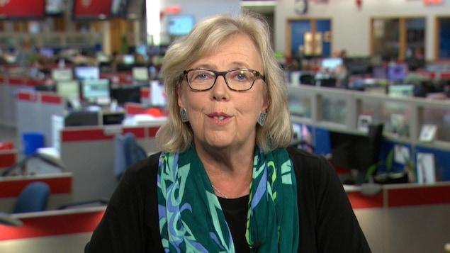La chef du Parti vert, Elizabeth May, en entrevue.