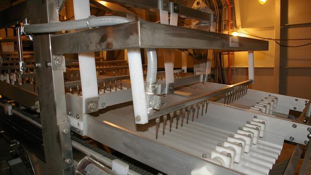 La partie usine du bateau. Ici: un équipement qui fait le tri des crevettes par grosseur.
