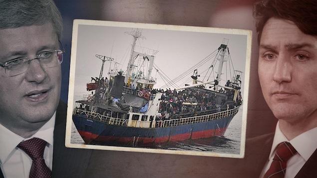 Montage photo comportant une photo d'un navire de migrants entre les visages de Stephen Harper et de Justin Trudeau.
