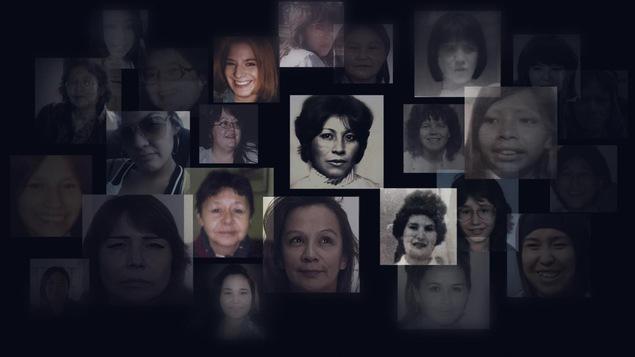 Un montage de plusieurs petites photos portraits de femmes et filles autochtones disparues.
