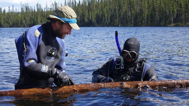 Les professeurs Étienne Boucher, à gauche, et Dominique Arseneault repêchent une épinette intacte, conservée pendant des siècles au fond du lac.