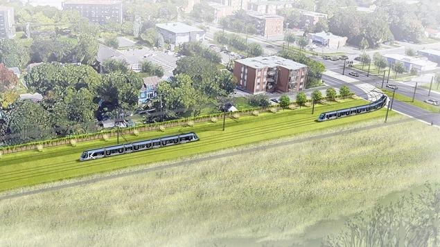 Représentation de la ligne de tramway dans le secteur du boulevard Pie XII.