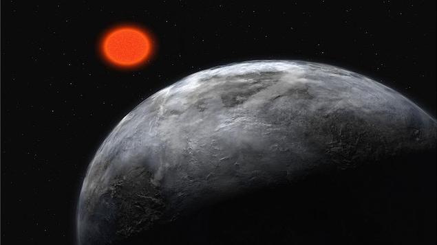 Représentation artistique de l'étoile Gliese 581, une naine rouge comme Ross 128, et d'une planète en orbite autour d'elle.