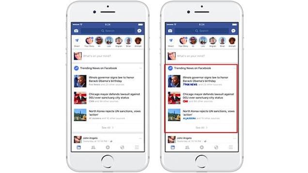 Maquette de la nouvelle mesure annoncée par Facebook, qui publiera le logo d'un média qui a diffusé une nouvelle. On voit l'application Facebook sur un téléphone intelligent. Sur le fil de nouvelles, les logos de Fox News, CNN et AlJazeera apparaissent.