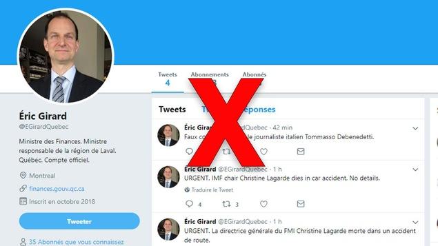 Il s'agit d'un compte Twitter où on peut voir la photo et le nom du ministre Éric Girard.