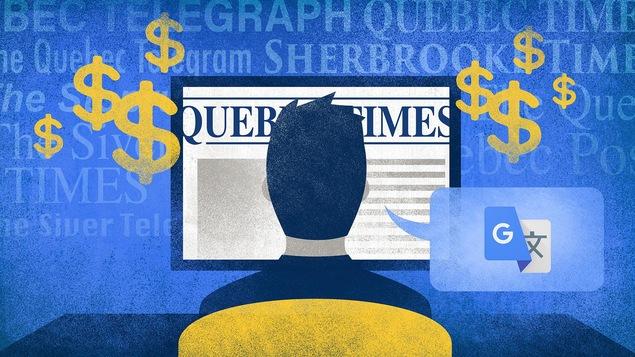 Illustration d'un homme devant un ordinateur. Il est sur la page du Quebec Times. De l'écran émanent des signes de dollar. Il y a le logo de Google Traduction dans une bulle de dialogue provenant de la tête de l'homme.