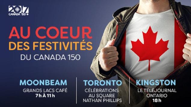 Grands Lacs café à Moonbeam de 7h à 11h, square Nathan Phillips à Toronto, le téléjournal Ontario à 18h.
