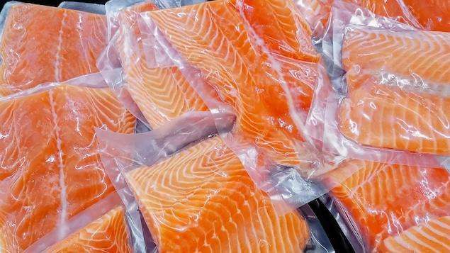 Des filets de saumon sous vide