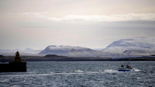 Un bateau de pêche quitte le port de Reykjavik