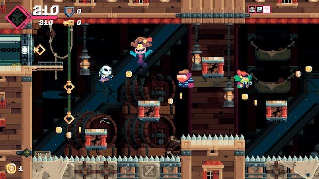 Le personnage saute au-dessus d'un sol fait de pointes acérées afin de récolter quelques pièces de monnaie.