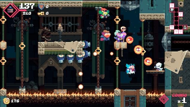 Le joueur fait face à de multiples ennemis et projectiles qu'il doit éviter.