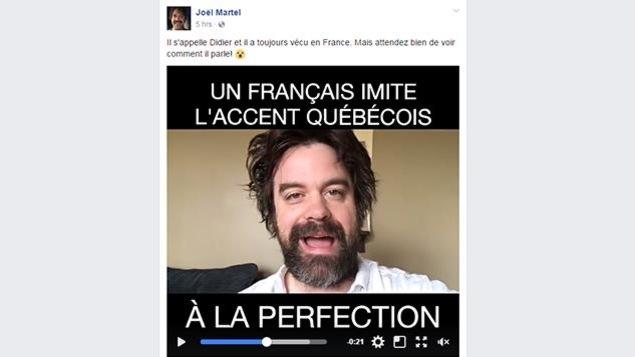 Capture d'écran d'un canular sur Facebook. On affirme que l'homme dans la vidéo est un Français qui est capable d'imiter l'accent québécois «à la perfection».