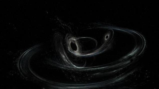 Représentation artistique montrant la fusion de deux trous noirs produisant des ondes gravitationnelles.