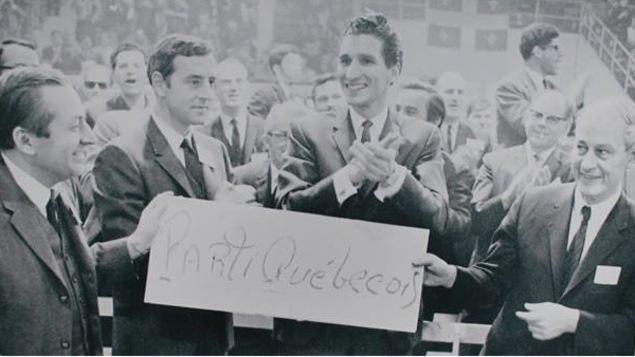 Gilles Grégoire, Fernand Paré, Guy Bertrand et René Lévesque.