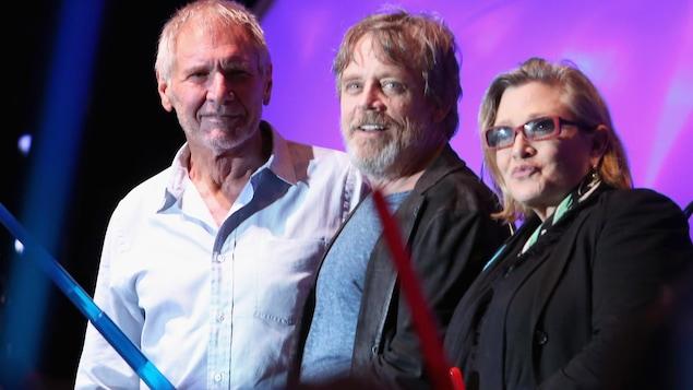 Harrison Ford, Mark Hamill et Carrie Fisher en 2015 à San Diego