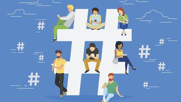 Un dessin montrant un grand dièse blanc sur fond bleu, sur lequel sont assis plusieurs personnages en train d'utiliser leur téléphone cellulaire.