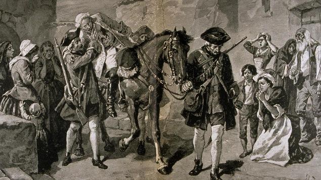 Trois grenadiers hissent Montclam sur un cheval alors qu'il a été blessé mortellement sur le champs de bataille des plaines d'Abraham.