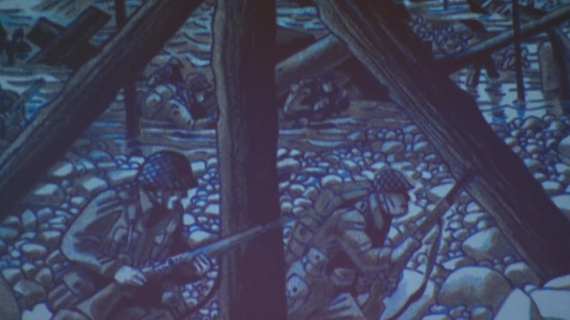 Un dessin de deux soldat sur une plage de galets.