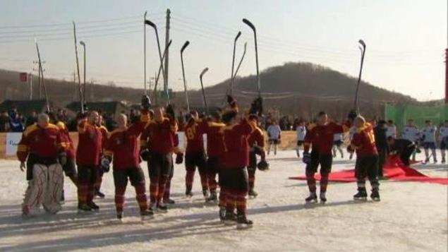 En prévision des Olympiques, la Corée du Sud a organisé un match de hockey rassemblant des vétérans de la guerre.