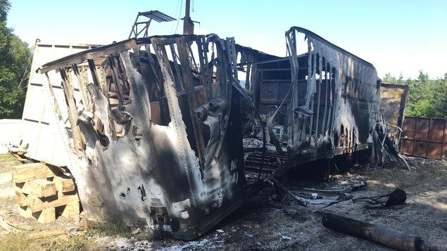 Des équipements de la compagnie Squatex ont été endommagés par l'incendie.