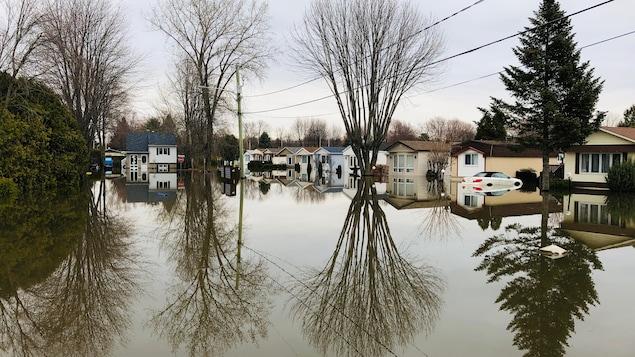 Une rue de maisons mobiles complètement inondée.
