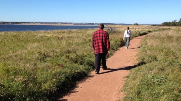 Deux personnes marchent sur le sentier.
