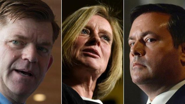 Les trois chefs des principaux partis politiques en Alberta