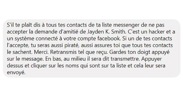 Capture d'écran d'un faux message viral sur Facebook mettant en garde contre un supposé pirate informatique nommé Jayden K. Smith.