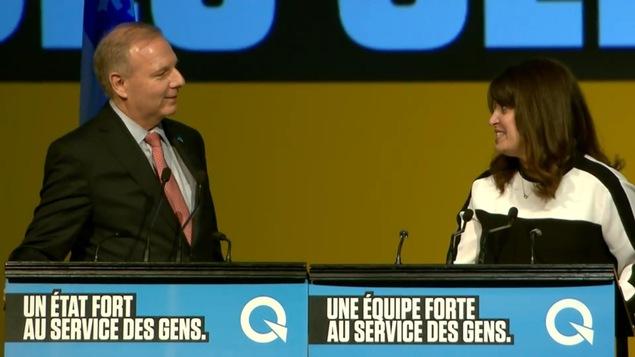 Le chef du Parti québécois, Jean-François Lisée, avec la « vice-chef » du PQ, Véronique Hivon.